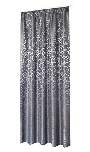 NOVUM fix Gardine Vorhang Dekoschal* modernes Jaquardgewebe mit leichtem Glanz* bis 300 cm hoch*Blickdicht* Silber-grau (140x245cm(BxH))