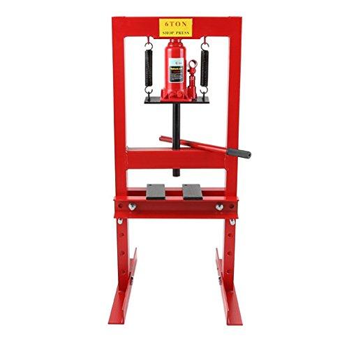 EBERTH 6T hydraulische Werkstattpresse (2 Auflagebacken, Arbeitshöhe 300 mm 4-fach verstellbar, Arbeitsbreite 330 mm)