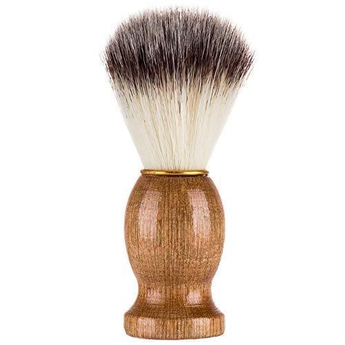 Effectivement Badger Hair Shaving Razor Brush Salon Beauty Beauty Appliance with Wood Handle for Men - Wooden Color