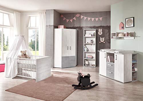 lifestyle4living Baby Habitaciones 4Piezas, Juego Completo en Blanco imitación de Madera, Gris estantes, Set está umbaubar/hendiduras, Moderno habitación para niños y niñas