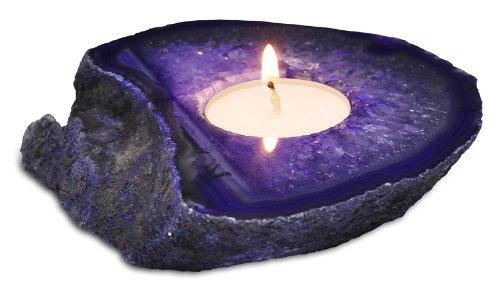 Agate Tea Light Candle Holder - Tea Lights Included! (Purple)