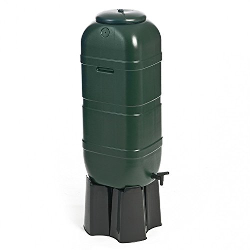 Regentonne, Wassertonne 100 Liter in Grün mit Stand, Füllautomat und Wasserhahn. Optimal u.a. für Balkone und Gartenlauben! Topp!