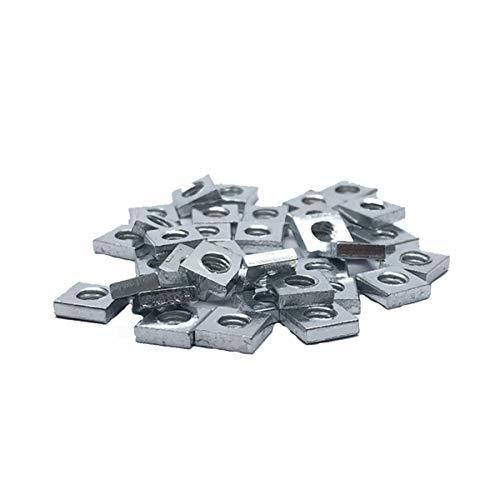 200pcs M4 Square Nut, Metric Coarse Thread Nut,Zinc Plated, Silver Tone(Size: M4×7×2).