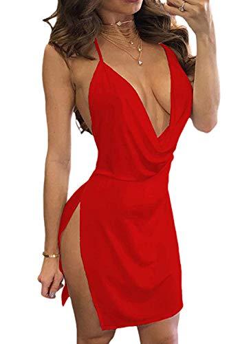 Frauen Schulterfreien Minikleid Clubwear Rückenfrei Schlitz - Party Red M