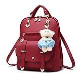 Mochila para mujer, para la escuela, bolso acolchado, casual, pequeño, de piel sintética, con cremallera, bolsa de hombro, 5 unidades
