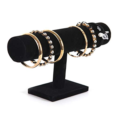 WZ Bracelet Holder For Jewelry Display Velvet/Linen Bangle Pendants Anklet And Watch Organizer Stand Jewelry Tower For Girls Women (Color : Black, Size : 1 Tier)