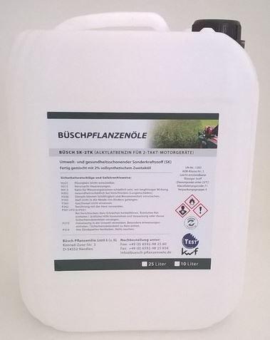BÜSCH SK-2TK Alkylatbenzin für 2-Takt-Motorgeräte - Fertiggemisch 1:50 - Sonderkraftstoff mit kwf-Prüfzeichen - 25 Liter