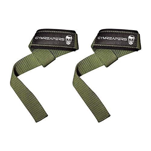 Lifting Wrist Straps for Weightlifting, Bodybuilding, Powerlifting, Strength Training, Deadlifts - Padded Neoprene with 18' Cotton (Military Green)