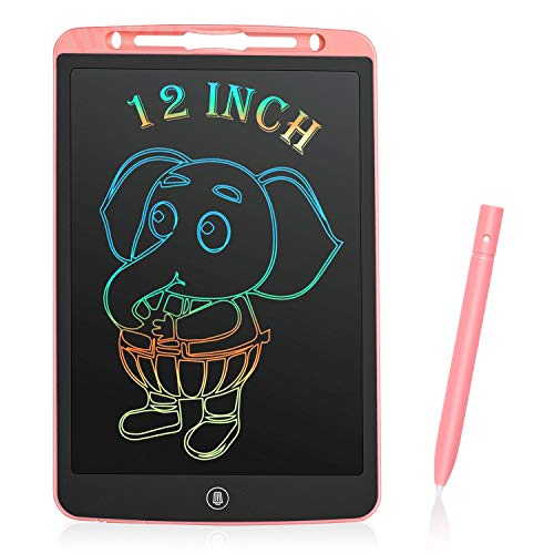 LCD Writing Tablet, Sunvook Drawing Tablet 12 Inch Kids Colorful Writing Pad Doodle Digital EWriter Electronic Graphics Drawing Board with Memo Notebook for Kids Adult Home School Office (Pink)