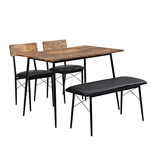 Kitchen Dining Table and Chairs Set of 2 with 1 Bench, Garden Bench Home Furniture Set Dining Room Furniture, Solid Wooden & Sturdy Metal Frame Industrial, Rustic Brown(pu leather seat)