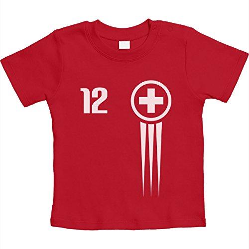 Shirtgeil Maglia per Fan del Calcio - Nazionale Svizzera Maglietta Neonato Unisex 3-6 Mesi Rosso