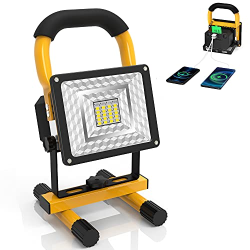 LED Work Lights 15W 24LED Portable Outdoor Light, Rechargeable Light with 3 Light Modes and 2 USB Output Ports, IPX5 Waterproof 360° Adjustable Outdoor Camping Emergency Flood Lights