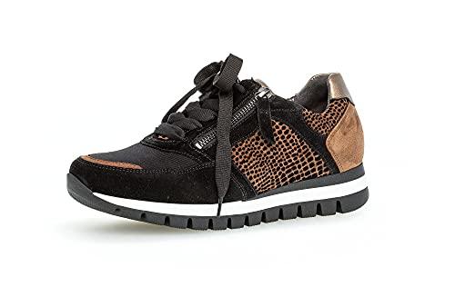 Gabor Damen Low-Top Sneaker, Frauen Halbschuhe,Wechselfußbett,Komfortable Mehrweite (H),Sportschuhe,Freizeitschuhe,schwarz/rost,40 EU / 6.5 UK