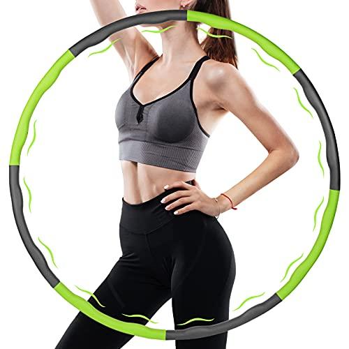 Luvsex Hula Hoop Reifen, Hoola Hoop für Erwachsene & Kinder zur Gewichtsabnahme und Massage, EIN 6-8-Teiliger Abnehmbarer Hula Hoop Reifen für Fitness/Büro oder Bauchmuskelkonturen (Grün + Grau)