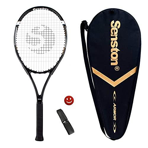 Senston Racchetta da Tennis da 27'' con Custodia Premium per Il Trasporto, Set di Racchetta da Tennis, Include 1 Overgrip + 1 ammortizzatori per Vibrazioni (Nero)