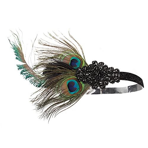 Mujer Diadema de los años 20 con Plumas de Pavo Real años 20 Gran Gatsby Diadema, Fiesta Feather Hairband Tocado Nupcial Vintage Femenino 5 Piezas