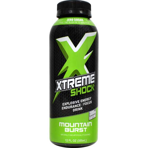 Nutrition Research Group (NRG), Xtreme Shock Xtreme Energy Drink - Energy, Endurance, and Focus with Zero Sugar, 300mg Caffeine - Thermogenic Weight Loss Formula - 12floz/12pk (Mountain Burst)