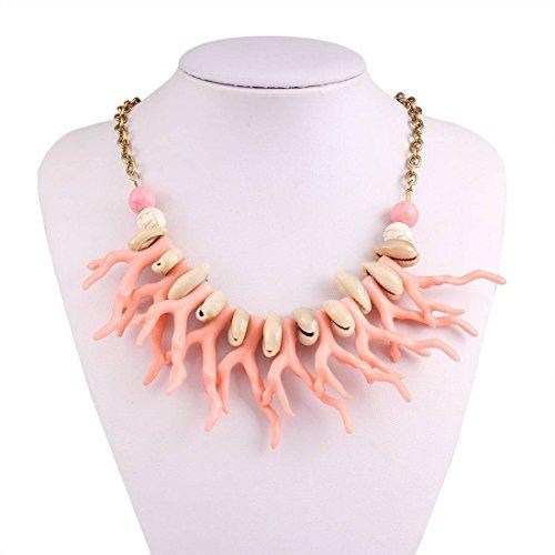 Hypoallergene mode overdreven etnische Boheemse Multi kleuren imitatie koraal kwastje ketting sleutelbeen ketting accessoires, roze