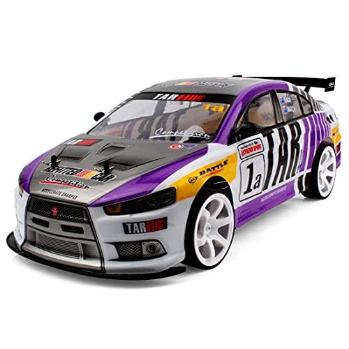 Flye Coche teledirigido 1/10 2.4G 4WD de alta velocidad 70 km/h, modo dual RC coche juguete con 2 baterías de litio, juguete todoterreno con control remoto