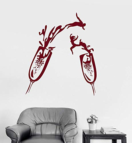 ASFGA Rotweingläser klirren Gläser Vinyl Wandtattoo Glas Champagner Party Nachtclub Unterhaltung Veranstaltungsort Wanddekoration Aufkleber Wohnzimmer Dekoration 42x49cm