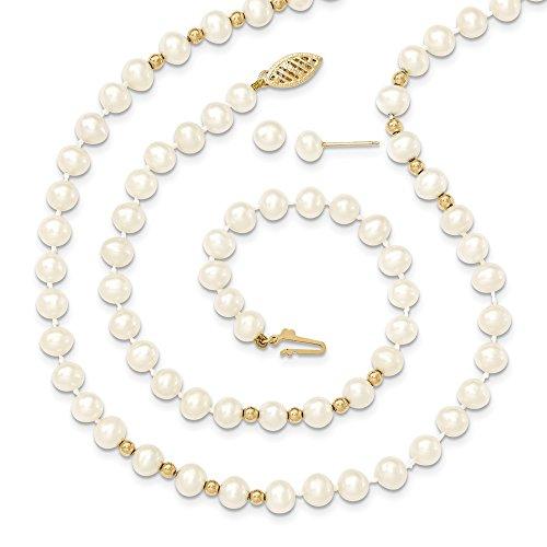 Bella oro giallo 14K 14K 6–7mm bianco FW della perla 18in. Collana 7.25braccialetto orecchino set Comes with a free Gift gioielli