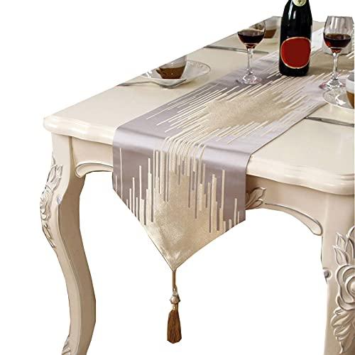 ZHFEL Moderno Camino de Mesa,Mesa de Café de decoración con Borla Elegante Antimanchas Camino de Mesa para Fiesta Banquete Hotel Boda Decor-12x47inch-gris Claro