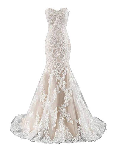 DINGZAN Champagne and White Lace Applique Mermaid Wedding Dresses Bridal Prom Gowns Long 16