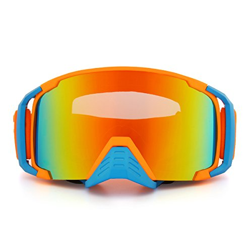 C-FUNN Motorfiets Racing Anti Mist Goggles Dual Lens Outdooors Snowboard Ski Snowboard Dumb Oranje Frame