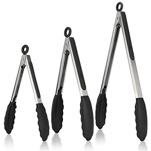 Kitchen Tongs, U-Taste 7/9/12 inches Cooking Tongs, with 600ºF High Heat-Resistant Non-Stick Silicone Tips&18/8 Stainless Steel Handle, for Food Grill, Salad, BBQ, Frying, Serving, Pack of 3(Black)