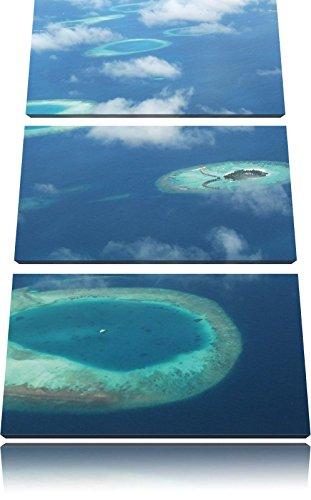 Droom eiland in de zeeFoto Canvas 3 deel | Maat: 120x80 cm | Wanddecoraties | Kunstdruk | Volledig gemonteerd