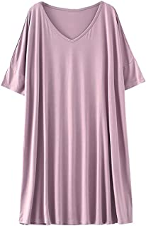 IngerT Women's Modal Nightdress Loungewear Soft Home T-Shirt Dress Plus Size Loose Maternity Nightwear Dressing Gown Hospi...