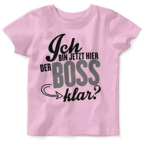 Mikalino Baby/Kinder T-Shirt mit Spruch für Jungen Mädchen Unisex Kurzarm Ich Bin jetzt Hier der Boss, klar? | handbedruckt in Deutschland | Handmade with Love, Farbe:rosa, Grösse:68/74