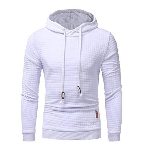 JX-PEP Sudadera lisa para hombre, estilo hipster, gimnasio, manga larga, con cordón, a cuadros, jacquard con capucha, para ocio, color sólido, blanco, M