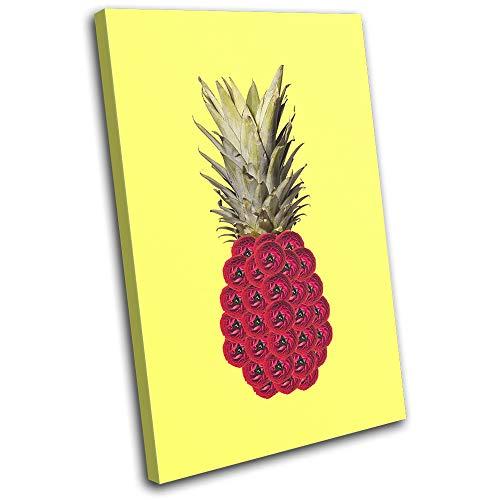 Bold Bloc Design - Pineapple Flowers Concept Food Kitchen 60x40cm Single Tela Art Print Box incorniciato Appeso a Parete Foto - Pronto da Appendere - Canvas Art Print 13-4519(00B)-SG32-PO-B