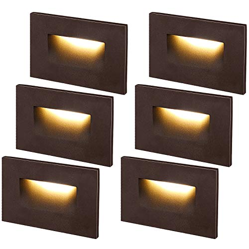 LEONLITE Dimmable 120V LED Step Light, 3.5W 150lm, Indoor/Outdoor Stair Light, 3000K Warm White CRI 90, ETL Listed, Aluminum Waterproof, Oil Rubbed Bronze Finish, Pack of 6