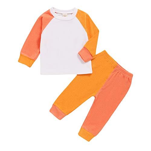 Conjuntos para Bebé Recién Nacido Ropa Invierno Niña 2 Piezas Camiseta Manga Larga Pantalones Largos Desiguales para Niña de 3 a 24 Meses (Naranja, 12-24 M)