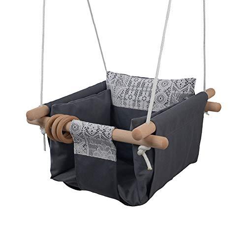 MIMIEYES Holz Baby Schaukel Leinwand Sitz Set mit Kissen, handgefertigte Kinder Indoor Outdoor Hängesessel Hängematte, Bequeme Kleinkind Sitz Kinderzimmer Dekor (grau)