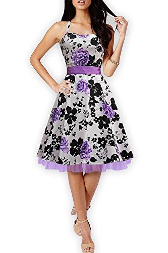 BlackButterfly 'Rhya' Vintage Serenity Kleid im 50er-Jahre-Stil (Weiß & Lila, EUR 36 - XS)