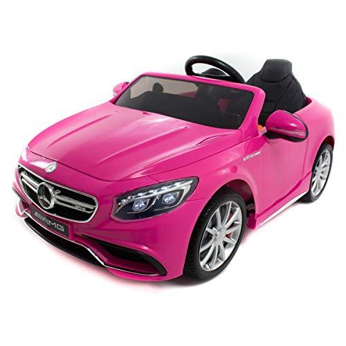 Babycoches - Coche eléctrico para niños Mercedes Benz S63, con Licencia Oficial, con Mando a Distancia para Control Parental, 12V, Color Rosa