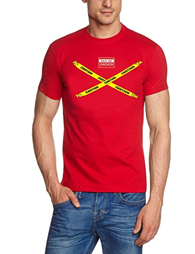 Coole-Fun-T-Shirts Herren T-Shirt Big Bang Theory - Caution - Out of Order, rot-co, M, 10821_Rot_CO_GR.M