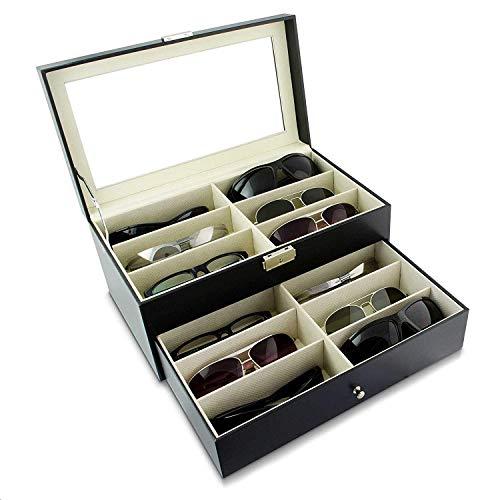 Asvert Brillenbox zur Aufbewahrung von 12 Brillen Schwarz 33.5 x 19.5 x 15.5 cm Sonnenbrillen Aufbewahrungsbox mit Schaufenster aus Glas Doppelschicht Präsentation Showcase