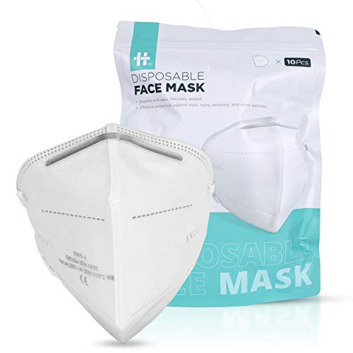 ICONIC 10Pcs Disposable KN95 Face Mask – Comfortable KN95 Masks with 95%+ Filtration, 4 Ply Non Woven Layers, Adjustable Nose Clip, Protects from Dust, Particles, Droplets