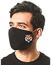 Breathe Organic Cotton Face Mask, Washable and Reusable with Adjustable Elastic Band for Indoor Outdoor Protection (Large, Tiger Design)