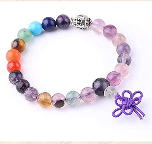 Pulsera de buena suerte Pulsera de piedra Mujer, 7 chakra perlas de piedra natural de cristal brazalete elástico buddha joyería reza energía yoga encanto ilimitado pulsera semipreciosa para el regalo