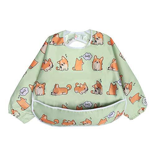 Babero Impremeable con mangas larga para bebé Manga Larga Resistente al agua Lavable Bebé Niños Alimentación Babero de Manga Larga (Pequeño perrito)