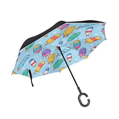Süßes Kawai EIS Umgekehrte Regenschirm mit C-förmigem Griff Seitenverkehrt Faltbarer Regenschirm UV-Schutz Auto Große Schirm