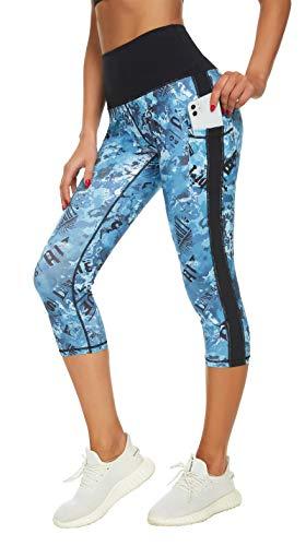 Flatik Leggings deportivos para mujer, cintura alta, con bolsillos, opacos, para gimnasio, capri 0345 Capri XS