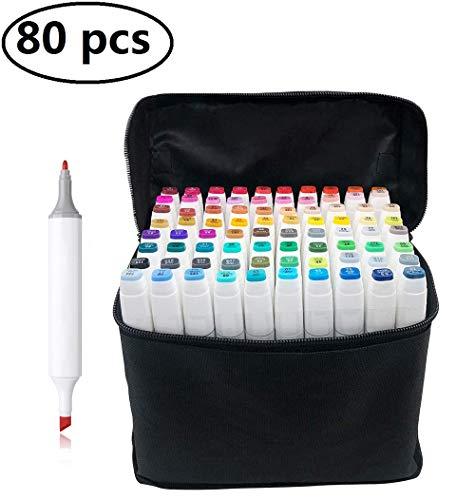 PetHot 80 Color un Set Arte Dibujo Touch Cinco Doble Amplia - Marcador Fluorescentes Punta Fina de Gráfico Rotulador Doble Punta Fina Ancha,Concha blana