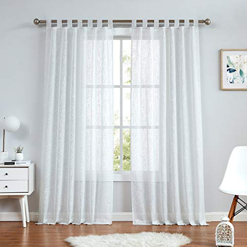 Central Park White Tab Top Sheer Metallic Window Curtain Linen Fabric for Living Room& Bedroom Sparkling Decorative with 7 Tab Top Loops Bliss Farmhouse Curtains, 50' x 84', 1 PK