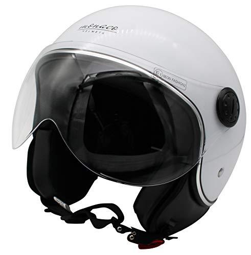 MONACO Jet-Helm mit Visier, Retro Pilot-Helm für Brillen-Träger, Roller-Helm für Frauen und Herren im Vintage-Look, Motorrad-Helm, weiß, Qualität nach ECE-Norm, XL